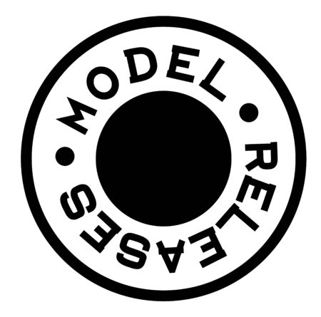 MODEL RELEASES black stamp on white background. Stamps and stickers series.