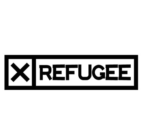 REFUGEE black stamp on white background. Stamps and stickers series.