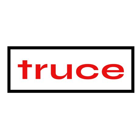 TRUCE sign on white background. Sticker, stamp Çizim