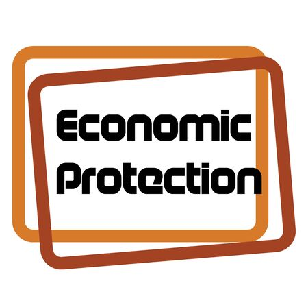 ECONOMIC PROTECTION sign on white background. Sticker, stamp