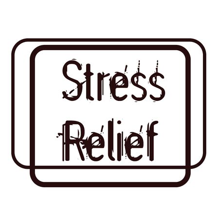 STRESS RELIEF sign on white background. Sticker, stamp