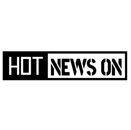 HOT NEWS ON black stamp on white background. Stamps and stickers series.