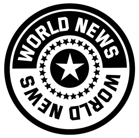 WORLD NEWS stamp on white background. Stickers and stamps series.