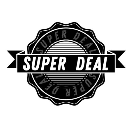 SUPER DEAL sign on white background. Sticker, stamp