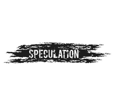 SPECULATION sign on white background. Sticker, stamp Çizim