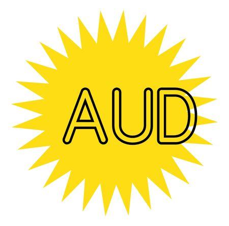 AUD sign on white background. Sticker, stamp Vector Illustration