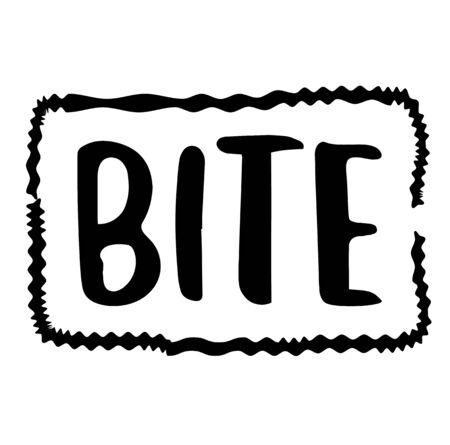 BITE sign on white background. Sticker, stamp