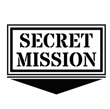 SECRET MISSION sign on white background. Sticker, stamp Иллюстрация