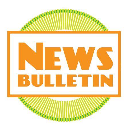 NEWS BULLETIN sign on white background. Sticker, stamp