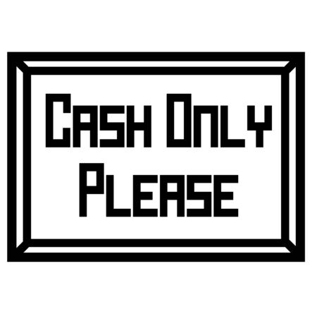 CASH ONLY stamp on white. Stamps and labels series.