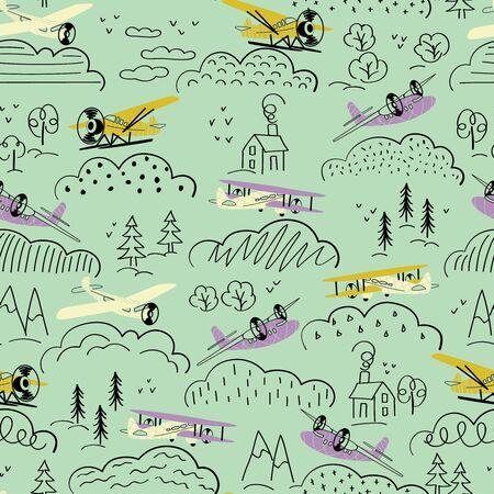 Airplane pattern cartoon style seamless design illustration