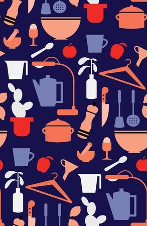 Kitchen pattern seamless design. Surface pattern design series for home and living. Illustration