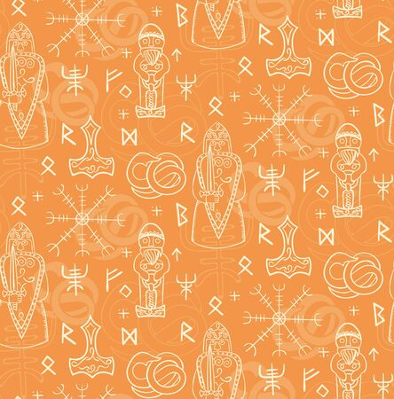 Ancient iceland pattern seamless design illustration. Fabric and wallpaper series. Illustration