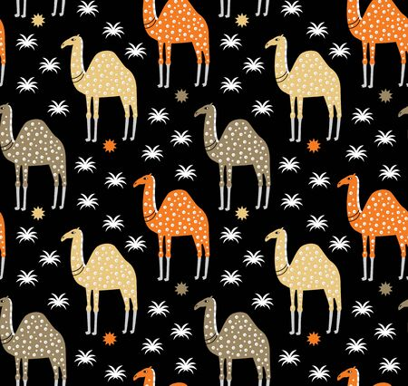 Camel pattern flat color seamless design illustration Vectores
