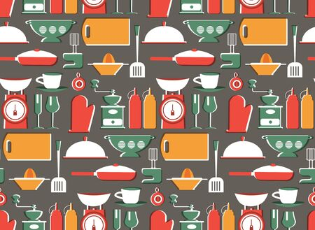 Kitchen patern seamless design. Decoration textile and paper series 向量圖像
