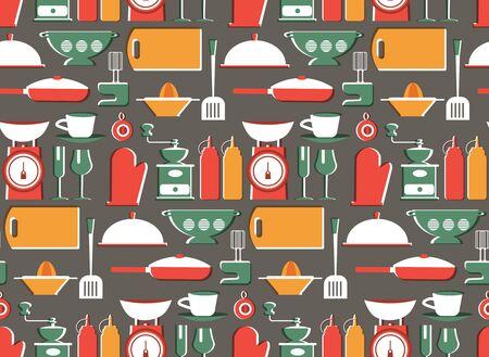 Kitchen patern seamless design. Decoration textile and paper series Illustration