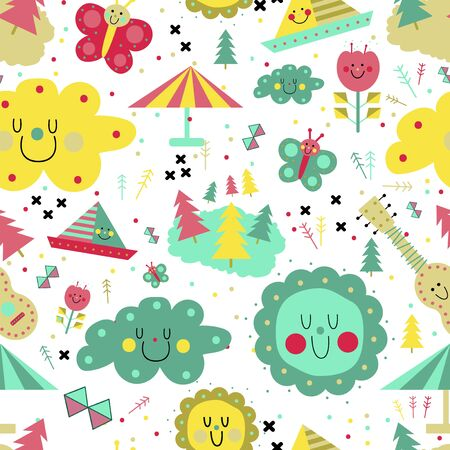 Kids play pattern seamless design. Decoration textile and paper series