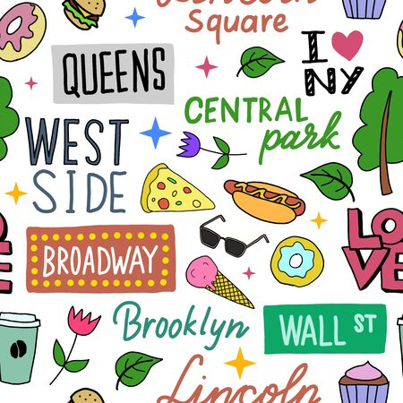 New York pattern seamless design. Decoration textile and paper series Illustration