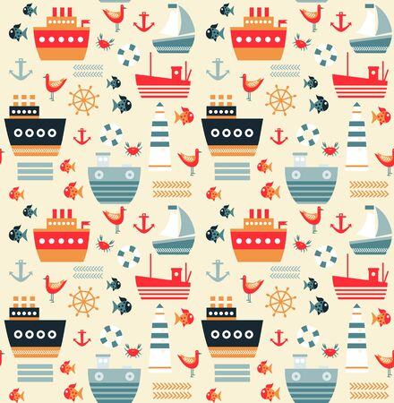 Sea pattern seamless geometric design . Kids cartoon decoration series. Illustration