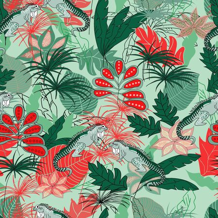 lizard in the jungle pattern seamless design. Decoration textile and paper series 写真素材 - 149489976