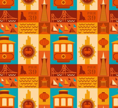 San Francisco pattern seamless design illustration. Fabric and wallpaper series.