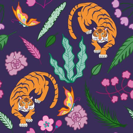 Tiger pattern flat color seamless design illustration