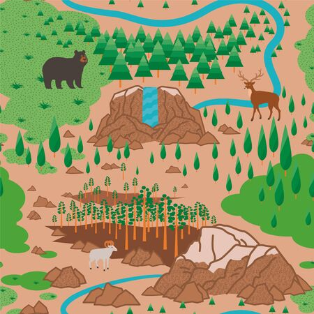 Yosemite National Park seamless pattern Ilustrace