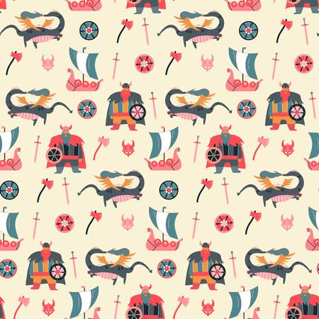 Vikings cartoon style seamless pattern for kids
