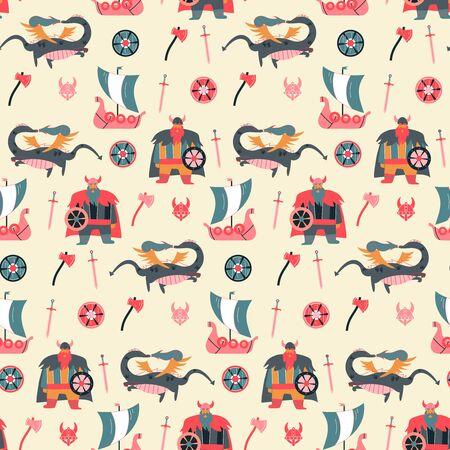 Vikings cartoon style seamless pattern for kids