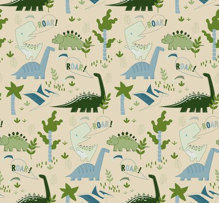 Dino pattern seamless cartoon design. Kids playground series.