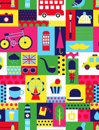 London pattern seamless geometric design . Travel tourism decoration series.  イラスト・ベクター素材