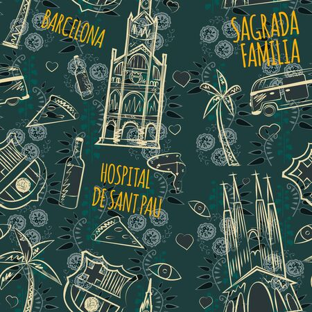 barcelona pattern seamless design. Decoration textile and paper series