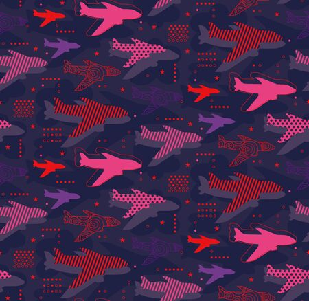 Airplanes seamless pattern geometric style design for children