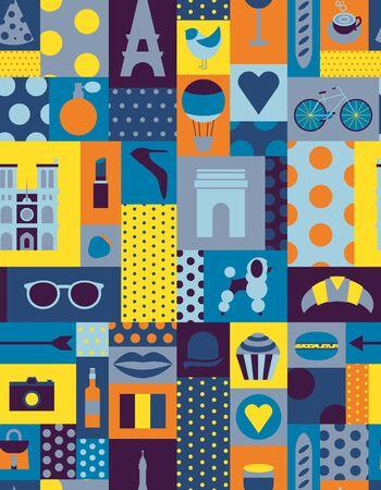 Paris pattern seamless geometric design . Travel tourism decoration series. 일러스트