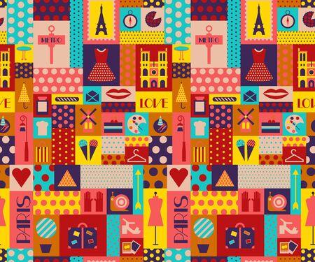 Paris pattern seamless geometric design . Travel tourism decoration series. Illustration
