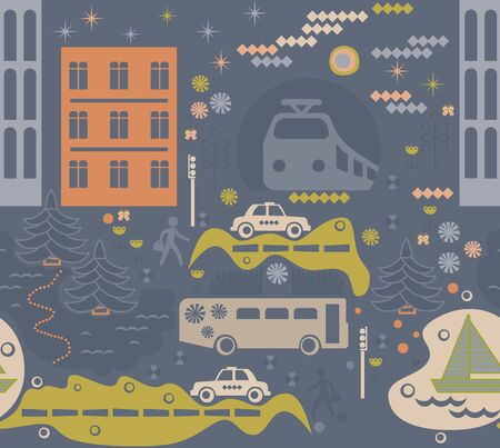 City traffic pattern seamless design. Decoration textile and paper series