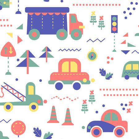 City transport kids seamless pattern design. Kids decoration home series.