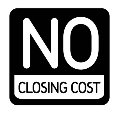 NO CLOSING COST black stamp on white background. Stamps and stickers series.