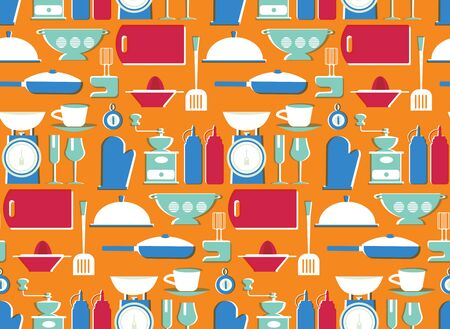 Kitchen pattern seamless design. Decoration textile and paper series