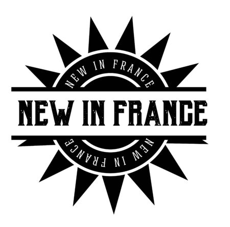 NEW IN FRANCE black stamp on white background. Stamps and stickers series.