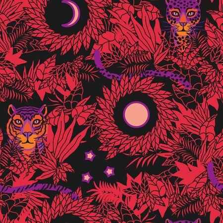 Tiger and leopard pattern flat color seamless design illustration