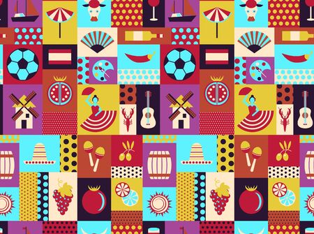 Spain national seamless pattern design . Travel and tourism decoration series.