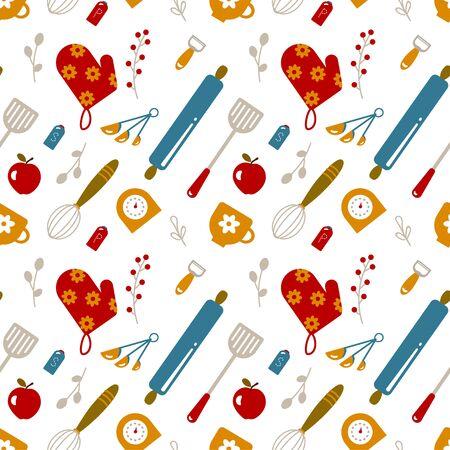 Kitchen seamless pattern decorative design . Kitchen and home decoration series.