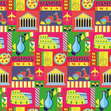 Rome city seamless decorative pattern design . Travel and tourism series. Stock fotó - 150050328
