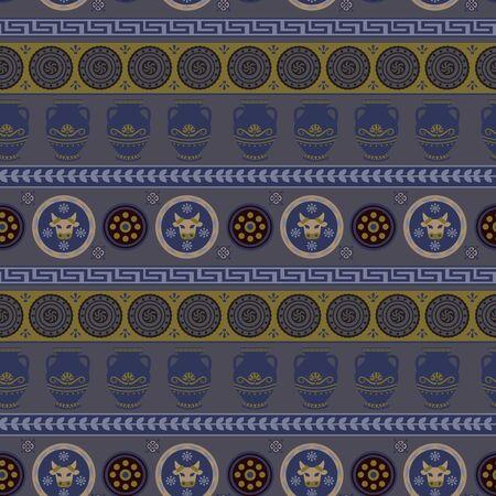 Ancient greece pattern flat color seamless design illustration