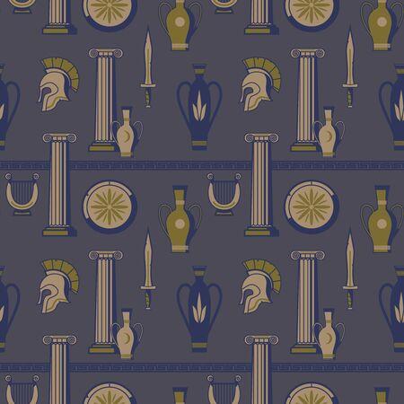 Ancient greece pattern flat color seamless design illustration Vettoriali