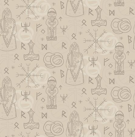 Ancient iceland pattern seamless design illustration. Fabric and wallpaper series.  イラスト・ベクター素材