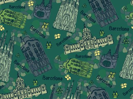 Barcelona pattern seamless design illustration. Fabric and wallpaper series.