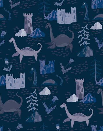Loch ness pattern seamless design illustration. Fabric and wallpaper series. Illustration