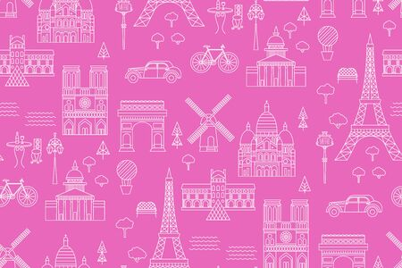 Paris pattern seamless geometric design . Travel tourism decoration series.  イラスト・ベクター素材